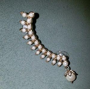 New Marchesa pearl gold plated earring ear cuff
